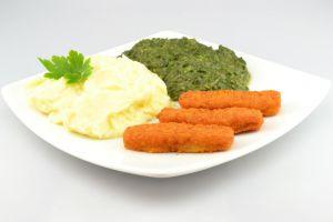 Fischstäbchen mit Kartoffelpürree